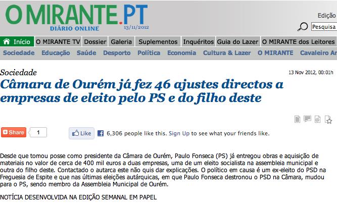Câmara de Ourém já fez 46 ajustes directos a empresas de eleito pelo PS e do filho deste - paulo fonseca